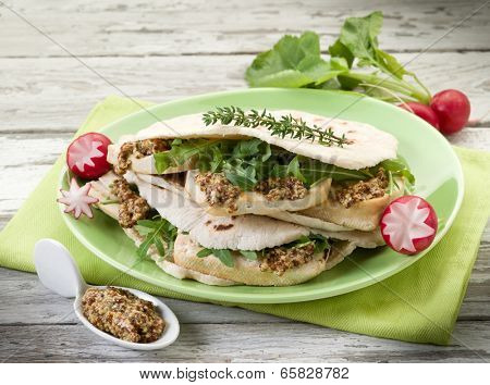 vegetarian sandwich, chapati with tofu arugula and mustard