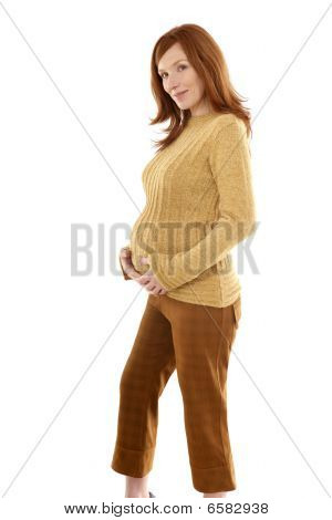 Pregnant Woman Fashion Redhead Portrait