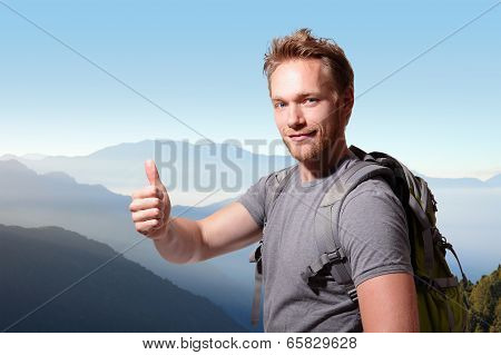 Happy Man Mountain Hiker