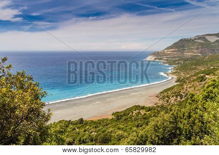 The Beach And Abandoned Asbestos Mine Near Nonza In Corsica