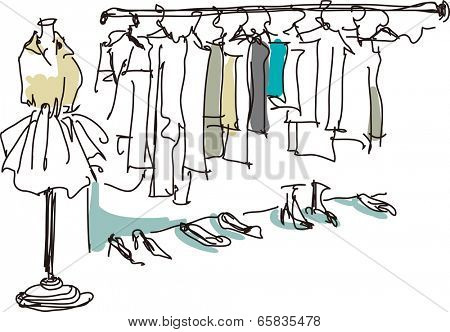 The view of rack with many clothes