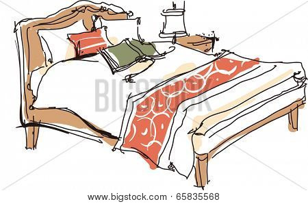 The view of books on the bed