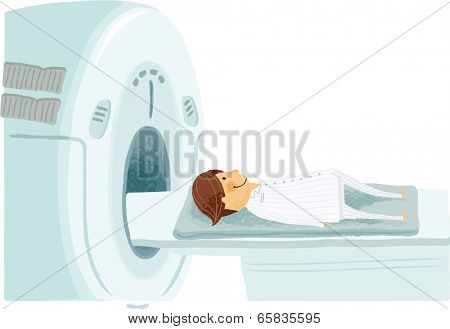 The view of man through a CT scanning machine
