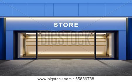 modern empty store on street of city at night time
