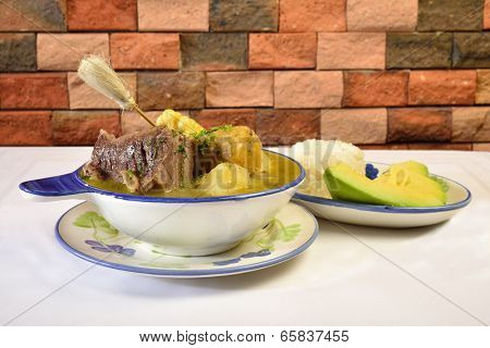 Colombian cuisine. Caldo de costilla.