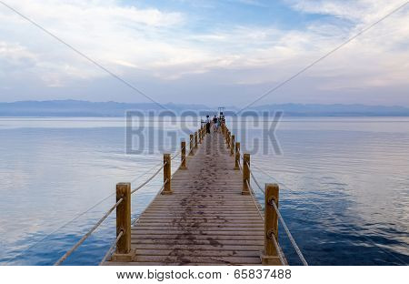 Pier By The Gulf Of Aqaba In The Evening Gentle Tones