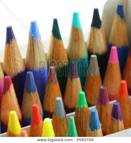 Pencil crayons pack, upright, colorful and close