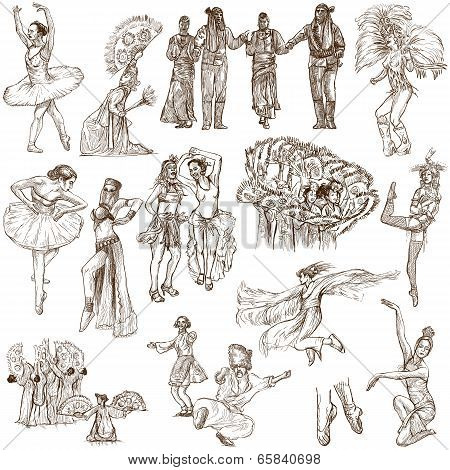 Dancing - An Hand Drawn Full Sized Illustrations - Collection