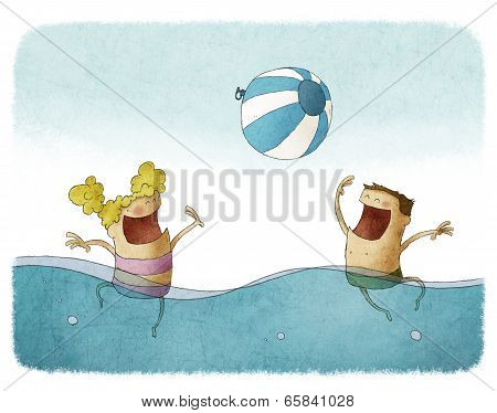 boy and girl playing with beach ball on water