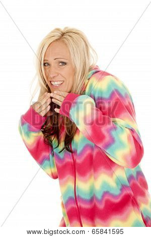 Woman In Colorful Pajamas Stand Laugh