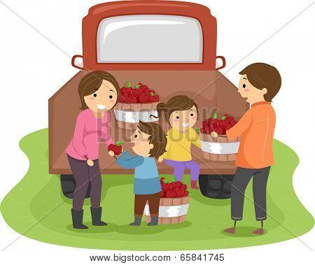 Illustration of a Family Harvesting Apples Together