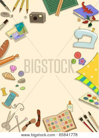 Frame Illustration Featuring Different Items Commonly Used in Arts and Crafts