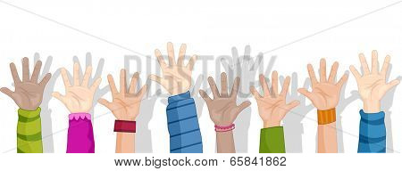 Cropped Background Illustration Featuring Children Raising Their Hands