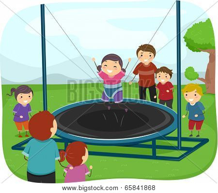 Illustration of Kids Playing with a Trampoline