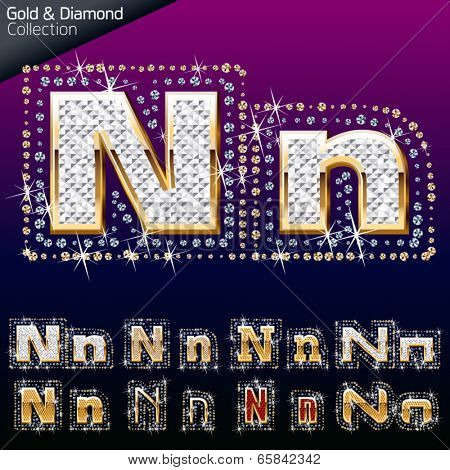 Shiny font of gold and diamond vector illustration. Letter n