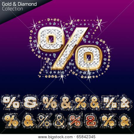 Shiny font of gold and diamond vector illustration. Symbol 3