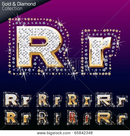 Shiny font of gold and diamond vector illustration. Letter r