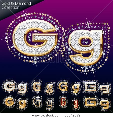 Shiny font of gold and diamond vector illustration. Letter g