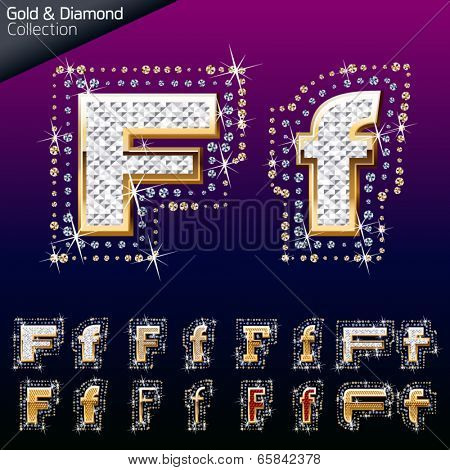 Shiny font of gold and diamond vector illustration. Letter f