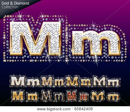 Shiny font of gold and diamond vector illustration. Letter m