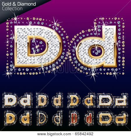Shiny font of gold and diamond vector illustration. Letter d