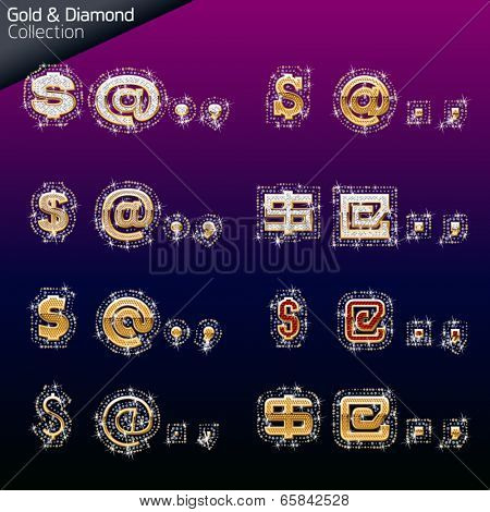 Shiny font of gold and diamond vector illustration. Symbol 2