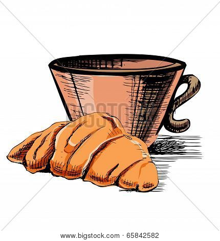 Fresh croissant and cup