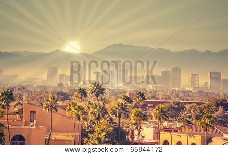 Morning sunrise over Phoenix, Arizona, USA
