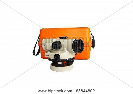 Surveyor's Telescope, Automatic Level , Surverying Instrument And Box Isolate On A White Background,