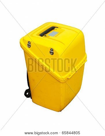 Tatal station box  on white background with clipping path, yellow survey box.