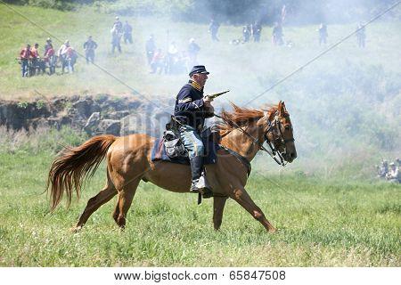 Union Army Calvary Reenactor.
