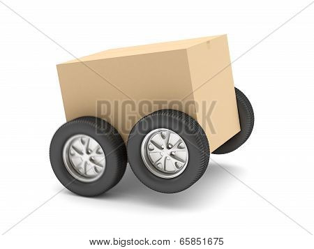 Cardboard box on wheels