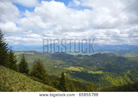 Beautiful spring landscape in the National Park Piatra Craiului