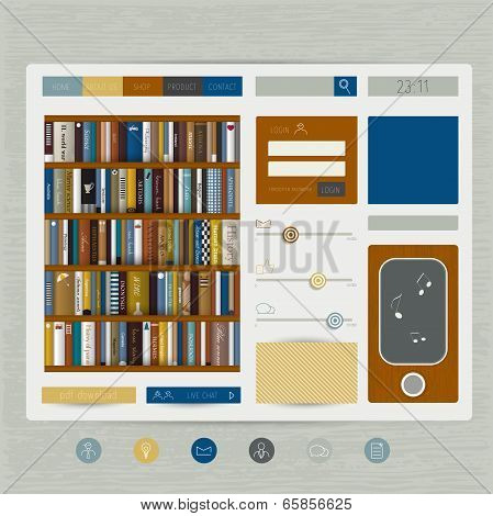 Simply flat web page. Vector template. Book store concept.