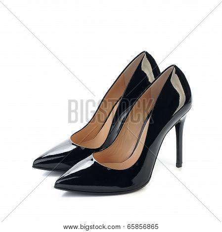 pair of black high heels women classic shoes