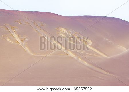 Candelabra, Peru, Ancient Mysterious Drawing In The Desert Sand, Paracas National Park