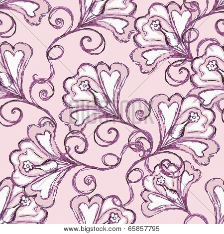 Pink  pattern with flowers.