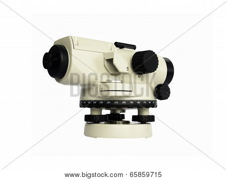 Surveying Measuring Equipment Level Theodolite  Isolate On A White Background