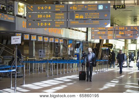 KRAKOW, POLAND - MAR 11, 2014: Terminal hall of John Paul II International Airport Krakow-Balice celebrated its 50th anniversary. The airport has one concrete runway, number 07/25, 2,550 m x 60 m.