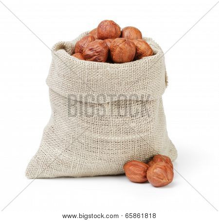 Organic Hazelnuts In Sack Pouch