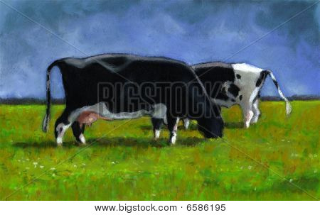 Pastel Painting of Holstein Cows Grazing