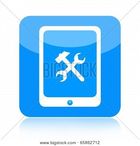 Tablet computer and tools icon