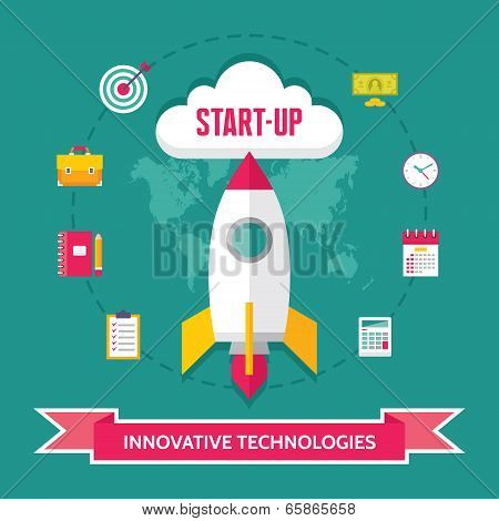 Start-Up Creative Illustration - Vector Icons Set in Flat Design Style for presentation, booklet, we