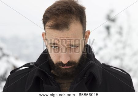 Winter portrait of a young man