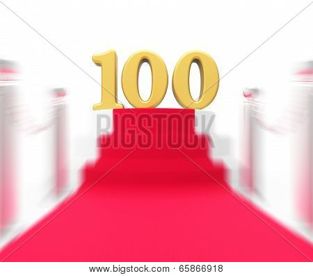 Golden One Hundred On Red Carpet Displays Movie Industry Anniversary And Recognition