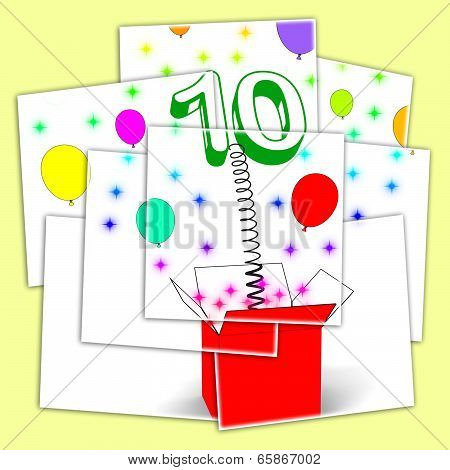 Number Ten Surprise Box Displays Numerical Toy Or Adornment