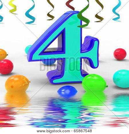 Number Four Party Displays Colourful Birthday Party Or Celebration