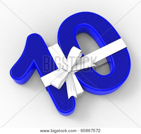 Number Ten With Ribbon Displays Ten Years Celebration Or Anniversary