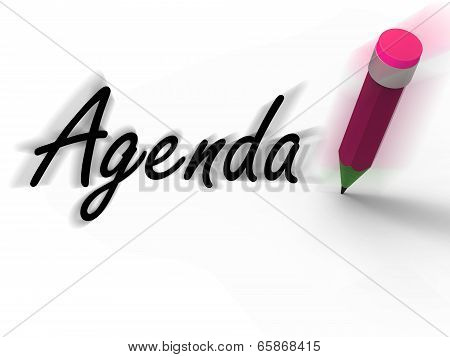 Agenda With Pencil Displays Written Agendas Schedules Or Outlines