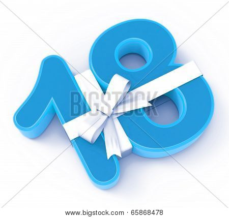 Number Eighteen With Ribbon Displays Special Event Or Happy Celebration